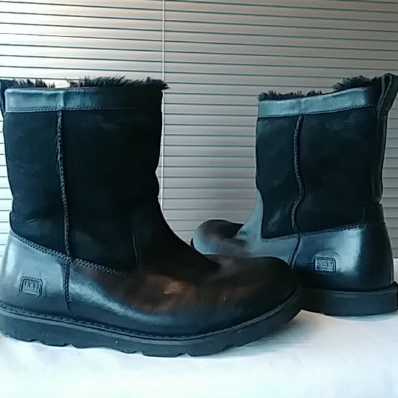 4bd6aa9b29a UGG Forester Black Men's Leather Boots